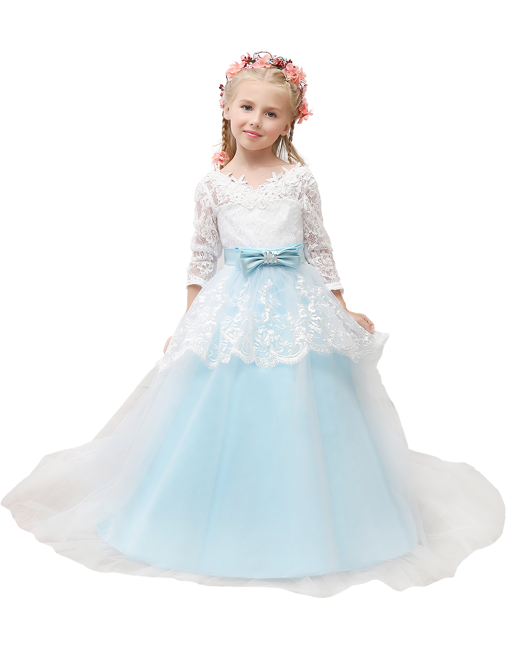 2016 3 4 sleeve flower girls dresses light blue ball gown for 3 4 sleeve ball gown wedding dress