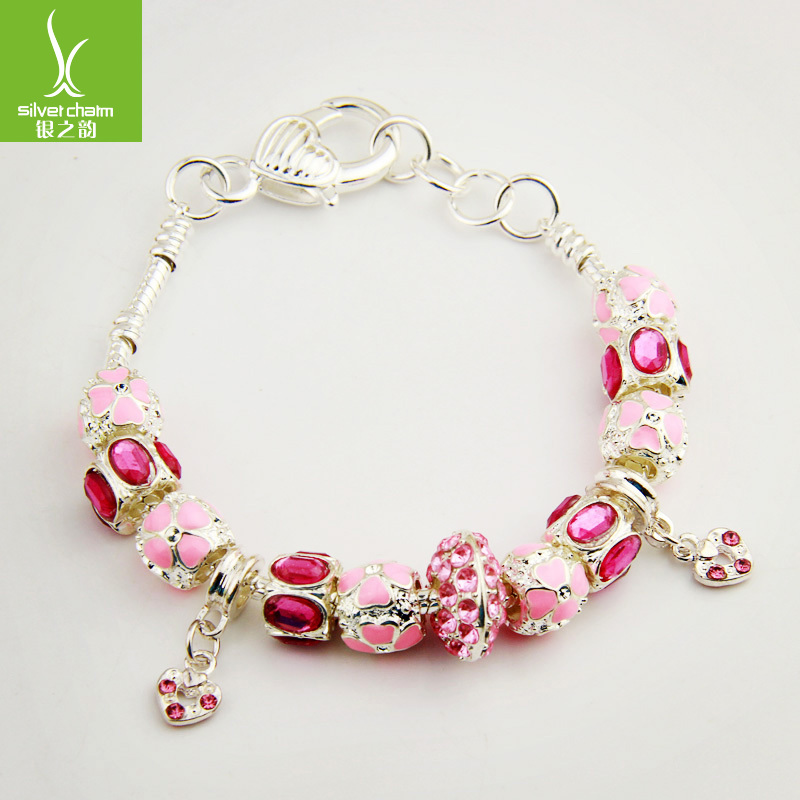 2016 Aliexpress HOT Sell European Style 925 Silver Charm Bracelet For Women Pink Crystal Murano Glass Beads DIY Jewelry XCH1400(China (Mainland))