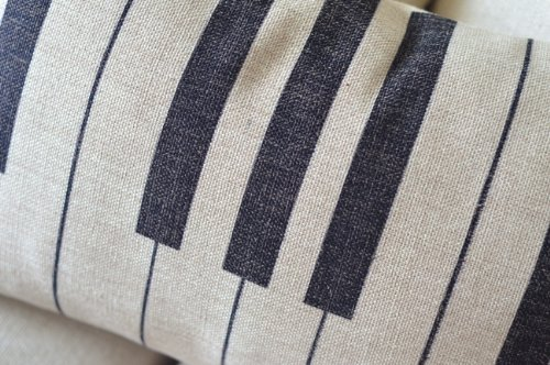 Piano Keyboard Simple Music Throw Pillow Case Decor Cushion Covers Oblong Beige Cotton Blend Linen 20