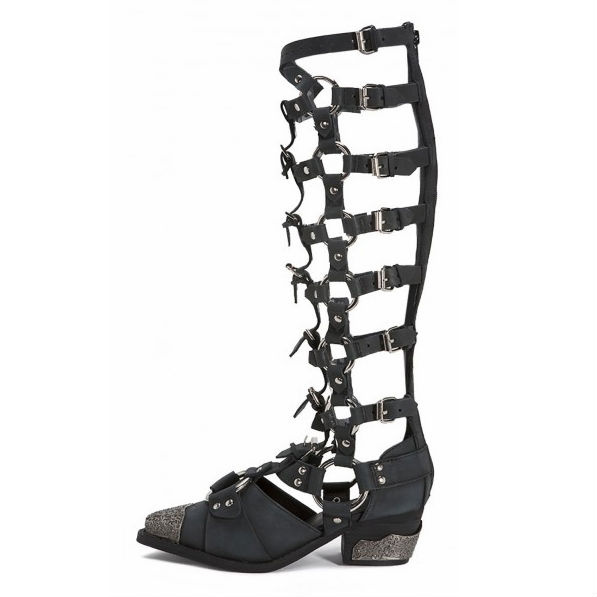 Sexy Buckle Harness Caged Metal Toe Heel Zipper Boots(China (Mainland))