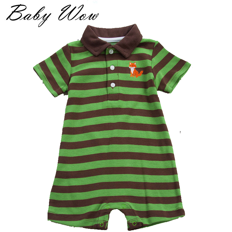2016 Kids Cotton Polo Shirt Baby Newvorn Boys Girls Polo Rompers Fashion Infant Striped Jumpers Overalls Kids Clothing tyh-70606(China (Mainland))
