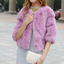 Patchwork Rabbit Fur Coat multi colors Real Natural Rabbit Fur Jacket FP448 Free Shipping for women fashion brand fur coat(China (Mainland))