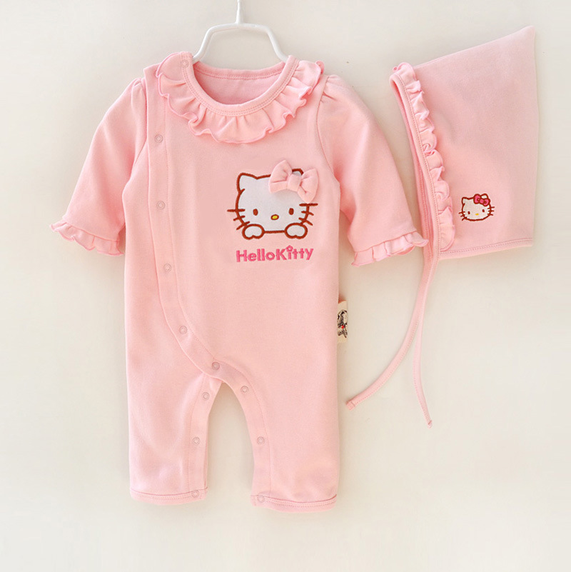 2016 Spring Baby Girls Rompers Newborn Girls long sleeve lace collar cartoon hello kitty jumpsuit with a Hat Infant girl clothes(China (Mainland))