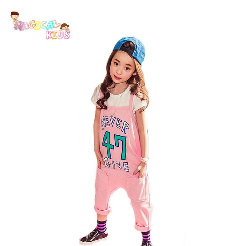 Children Summer Girls Clothes 2pcs Short-sleeved T-shirt+Bib Harem Pants Toddler Girl Kids Hip Hop Clothing Set vetement fille(China (Mainland))