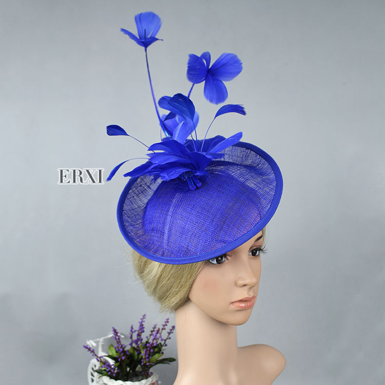 10pcs/lot, Elegant fascinator/sinamay fascinator/sinamay hat with feathers and veiling for wedding Kentucky Derby ,5colors(China (Mainland))