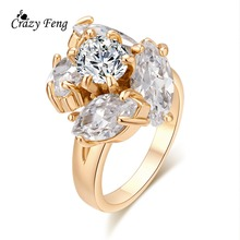 Buy Free Crystal Wedding Jewelry Ring Gold Color Cz Cubic Zirconia Party Pretty Women Finger Rings Gift for $1.56 in AliExpress store