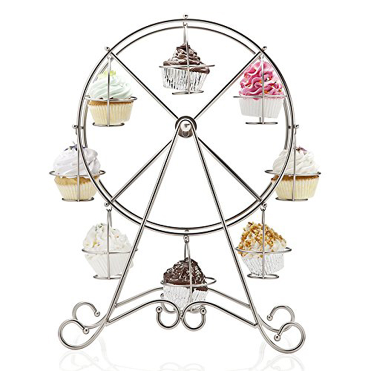 Stainless Steel 8-Cup Round Rotating Ferris Wheel Cupcake Stand(China (Mainland))