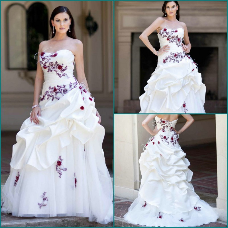 2014 fashion design satin organza embroidery appliqued for Wedding dress with purple embroidery