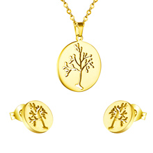 Round Cut Spring Tree Necklace Pendant With Earring Fashion Jewelry Set Perfect Birthday Gift, 18K Gold Plated & Silver Color(China (Mainland))