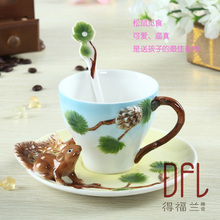 3D squirrel pure hand-painted ceramic mug cup individuality creative mugs Couples of office coffee cup
