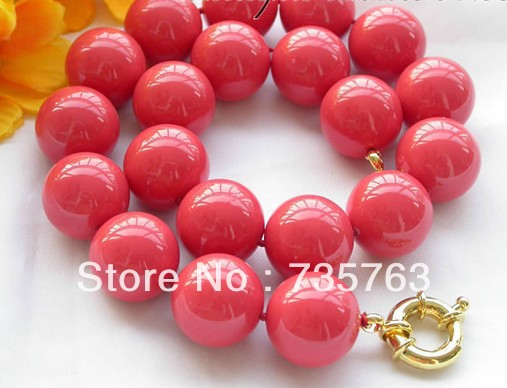 xiuli 00688 20mm coral-red round SOUTH SEA SHELL PEARL NECKLACe<br><br>Aliexpress