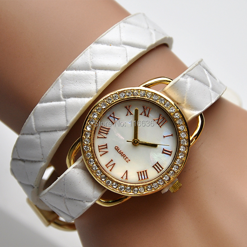 10 pcs lot BELT Bracelet Watch women golden rhinestone wristwatch girl PU leather reloj new Fashion relogio<br><br>Aliexpress