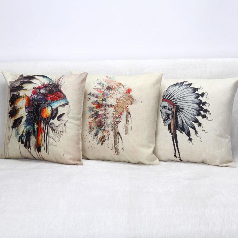 Hot Sale Indian Skeleton Headdress Square Cushion Home Sofa Office Linen Decorative Waist Cushion Halloween Gifts Wholesale(China (Mainland))
