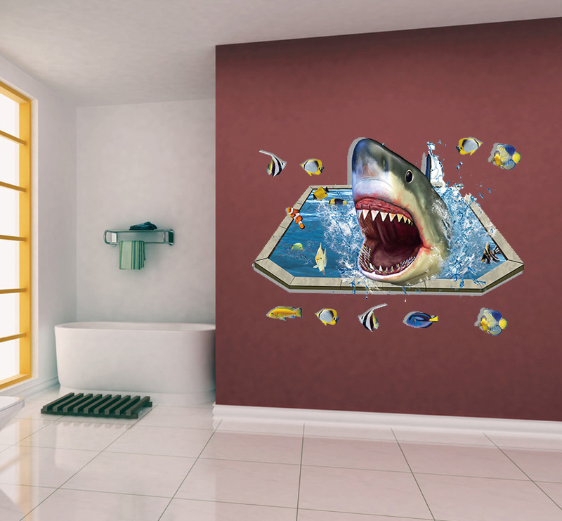 creative sharks underwater world swimming pool view PVC wall stickers for kids room living room home decor 3d vinyl wall decals(China (Mainland))