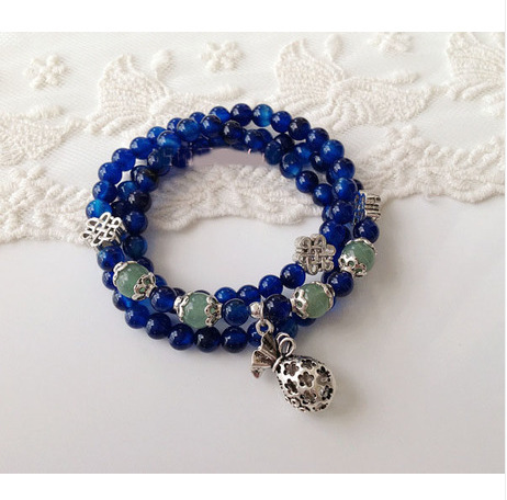 Natural Blue Agate Stone Multilayer Female Lucky Jewelry Bracelets Tibetan Silver Rosary Prayer Beads