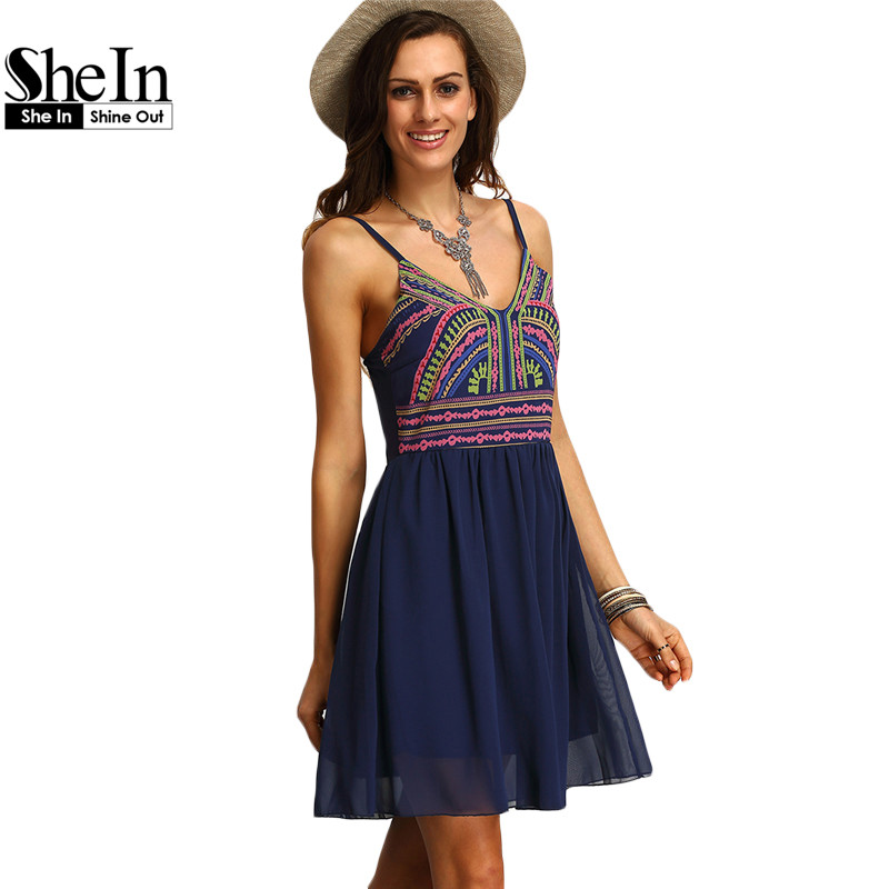 SheIn Print Dresses Women Clothing New Arrival 2016 Womens Sexy Multicolor Spaghetti Strap Short Summer Sundresses(China (Mainland))