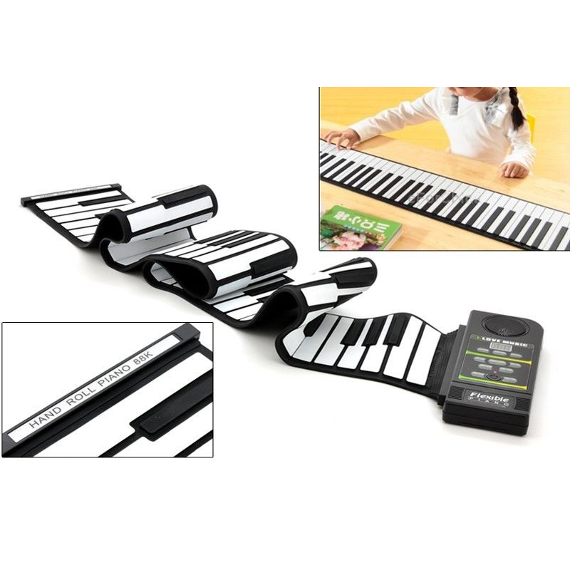 88 Key Electronic Piano Keyboard Silicon Flexible Roll Up Piano with Loud Speaker Wish US Plug(China (Mainland))