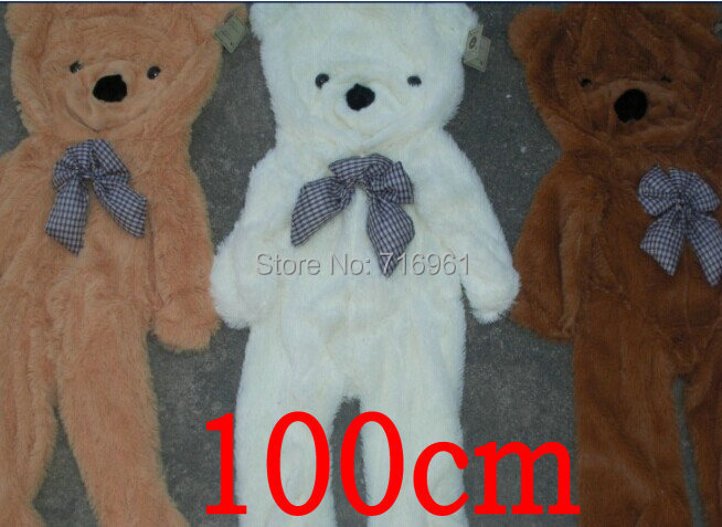 100cm Huge big plush Teddy bear shell coat without cotton Giant life size birthday gift 3 colors 1.0m(China (Mainland))