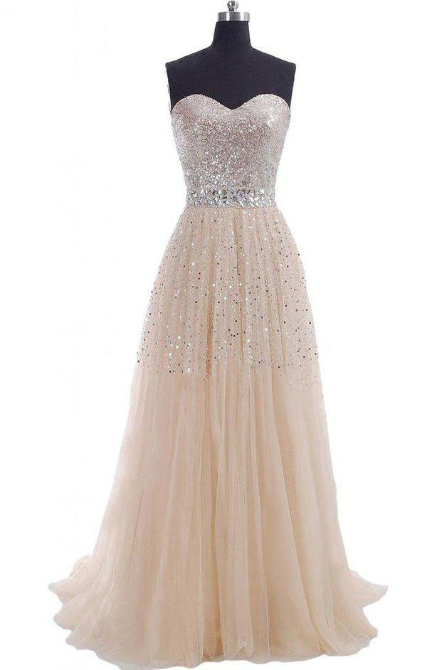 Women long dresses for wedding party fashion sexy sequin for Strapless sparkly wedding dresses
