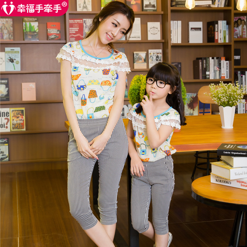 Free ship 2016 summer new family set matching mother and daughter clothes chiffon shirt and skinny pants suit roupa mae e filha(China (Mainland))