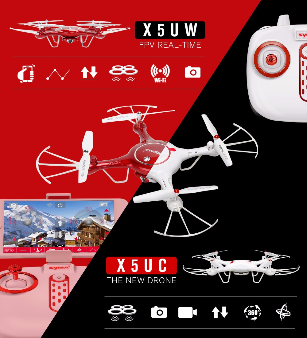 Syma X5UW Newest Drone with WiFi Camera HD 720P Real-time Transmission FPV Quadcopter 2.4G 4CH RC Helicopter Dron Quadrocopter