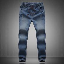 2015 New mens Stylish ripped Jogger Jeans Skinny biker jeans perfumes 100 original Plus size XXXL 4XL 5XL elastic jeans,JA266(China (Mainland))