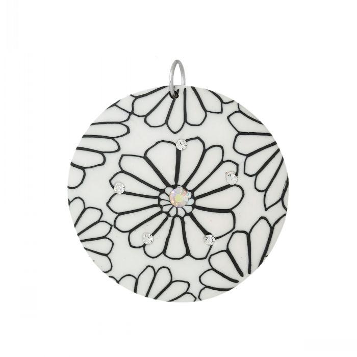 "Polymer Clay Charm Pendants Round White Flower Pattern AB Color Rhinestone 4.4cm x 3.9cm(1 6/8"" x1 4/8""),10 PCs Mr.Jewelry(China (Mainland))"