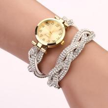Newly Design Fashion Women's Rhinestone Bracelet Watch Dial Quartz Analog WristWatches 160307