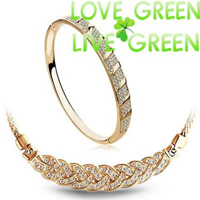 2015 austrial crystal twist design brand bridal 18K Gold Plated Import Rhinestones necklace bracelet fashion jewelry sets 2901(China (Mainland))