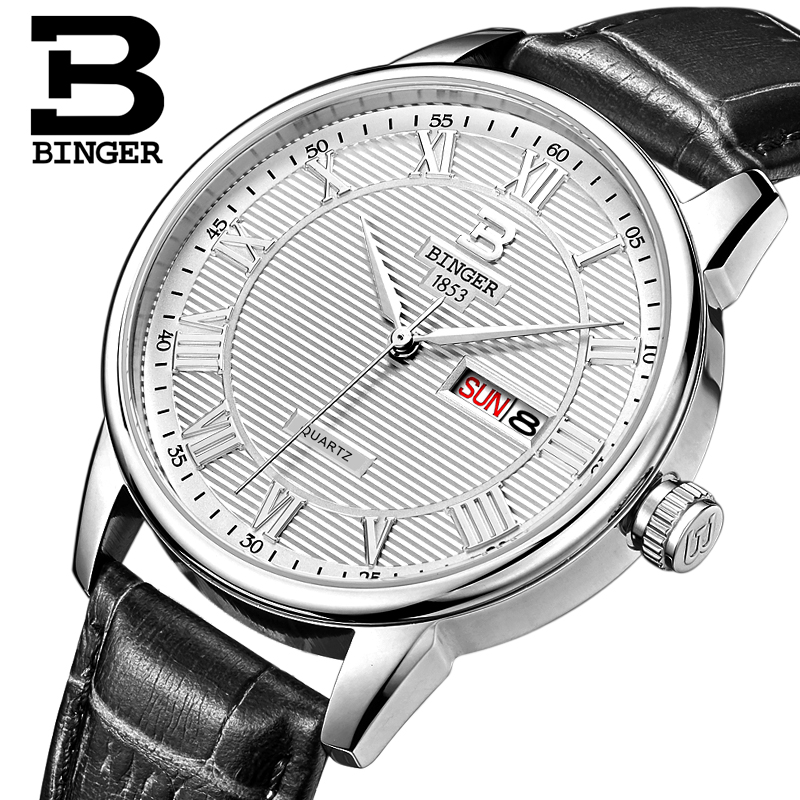 Genuine Swiss BINGER Brand Men quartz Leather strap watches male form parallel lines Waterproof free shipping(China (Mainland))