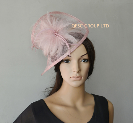 Blush pink Sinamay Fascinator hat with silk for formal occasion,kentucky derby,ascot races,melbourne cup,wedding.free shopping.(China (Mainland))