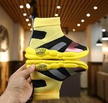 ילד נעליים יומיומיות זכר נקבה תינוק sneaker ילדים גבוהה אלסטי גלישת רגל שלג מרטין מגפי ילדים סרוג גרבי ספורט נעליים(China)