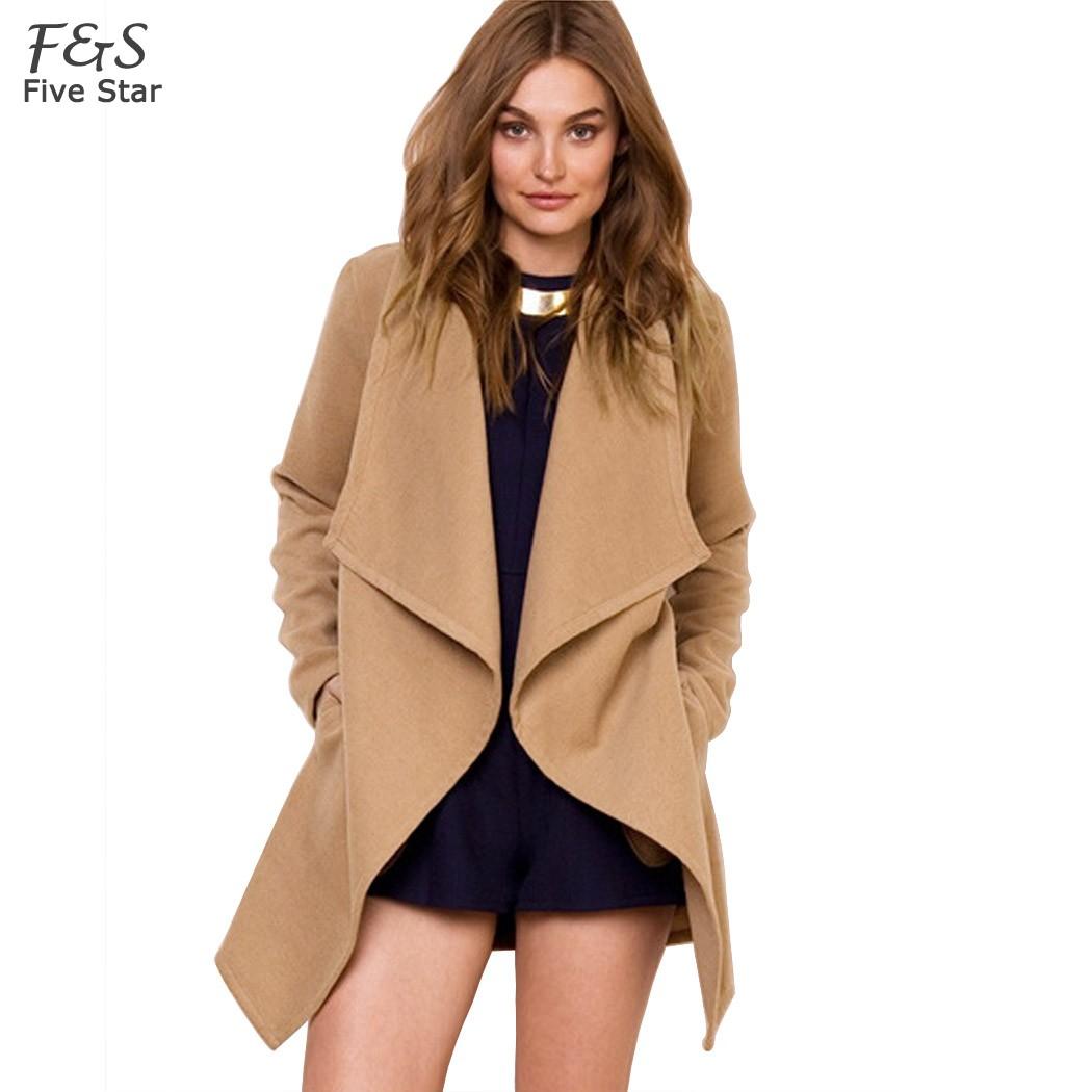 High Quality ! 2015 Winter Coat Women Fashion Cardigan Wide Lapel Long Wool Coat Jacket Windbreaker Belt S-XLОдежда и ак�е��уары<br><br><br>Aliexpress