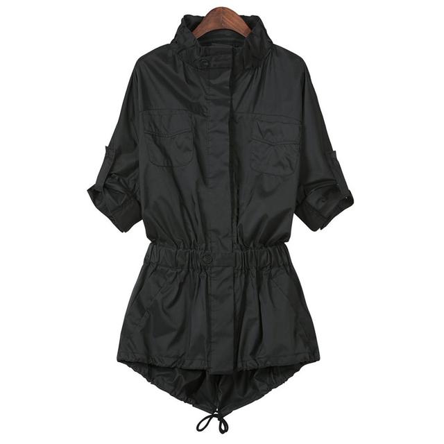 2015 осень стиль дамы однобортный плащ тонкий черный с длинным рукавом покет женская ...