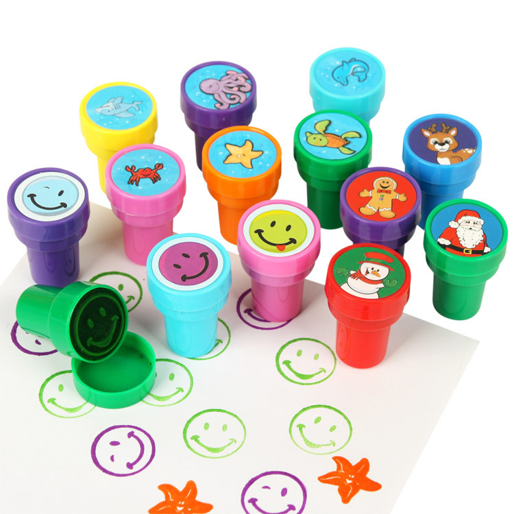 Kids Cartoon Stamps Animal Dinosaur Christmas Ocean Smile Face Children Custom Plastic Rubber Self Inking Stampers Toys(China (Mainland))