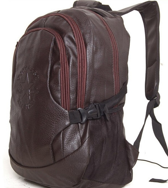 BP001 free shipping quality Brand PU leather double-shoulder student  school bag vintage backpack
