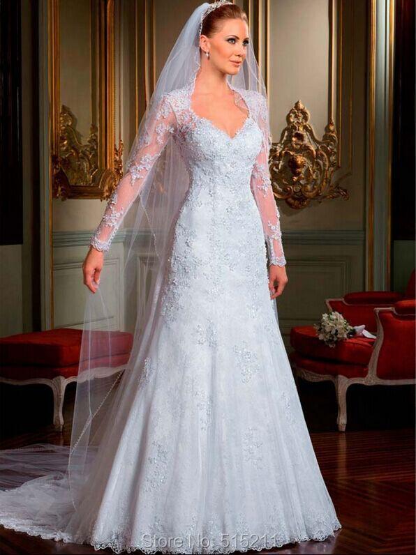 Vendimia de manga larga Vestido de boda de encaje de cuello alto V cuello una línea
