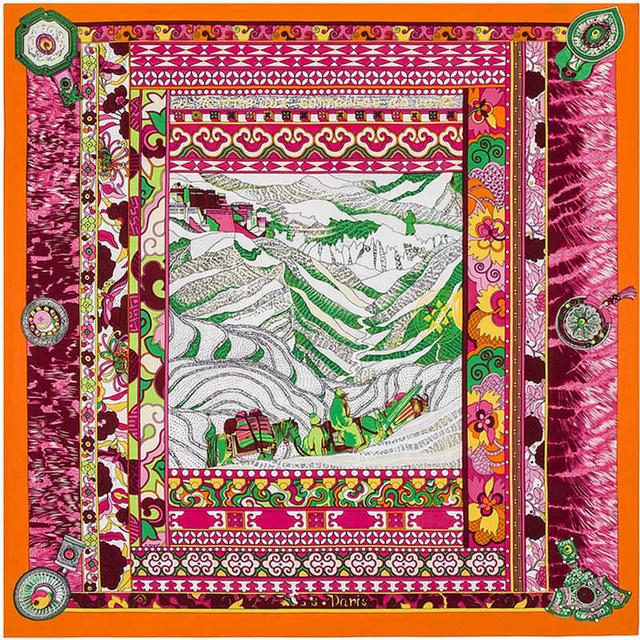 100 см * 100 см 100% Twill Шелковый Евро Бренда Национального Ветра Montain Отпечатано Женщины Большой Размер Шелковая Косынка высокое Качество Платки B121
