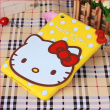 For iPad Mini 1 2 Smartphone Accessory 3D Cute Hello Kitty Case with Bowknot for iPad Mini 7.9 Inch Tablet PC Case