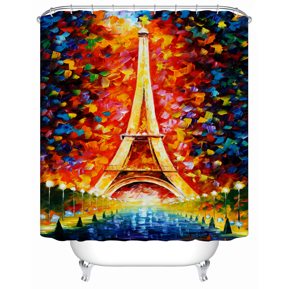 shower curtains paris eiffel tower colorful scenery design. Black Bedroom Furniture Sets. Home Design Ideas