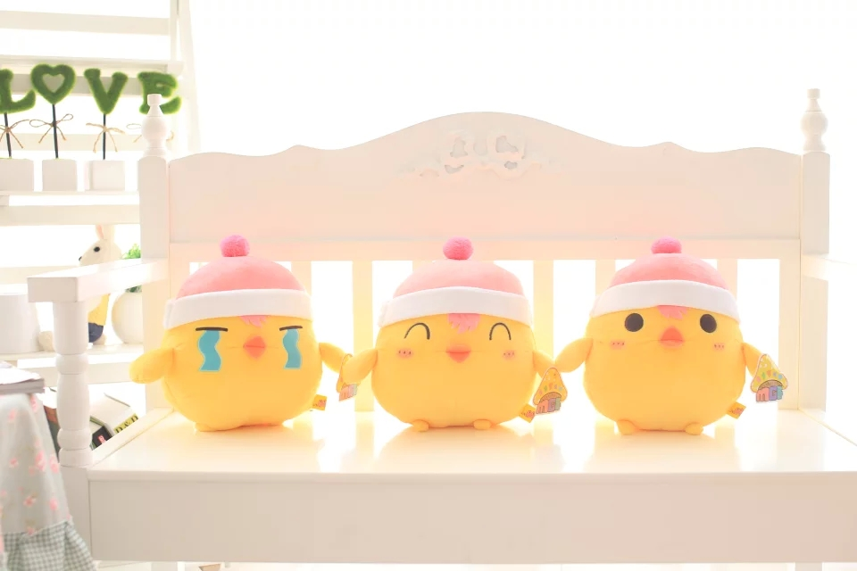 New Arrival 35cm One Piece Cute Hat Yellow Chicken Plush Toys Soft Stuffed Doll 3 Models(China (Mainland))