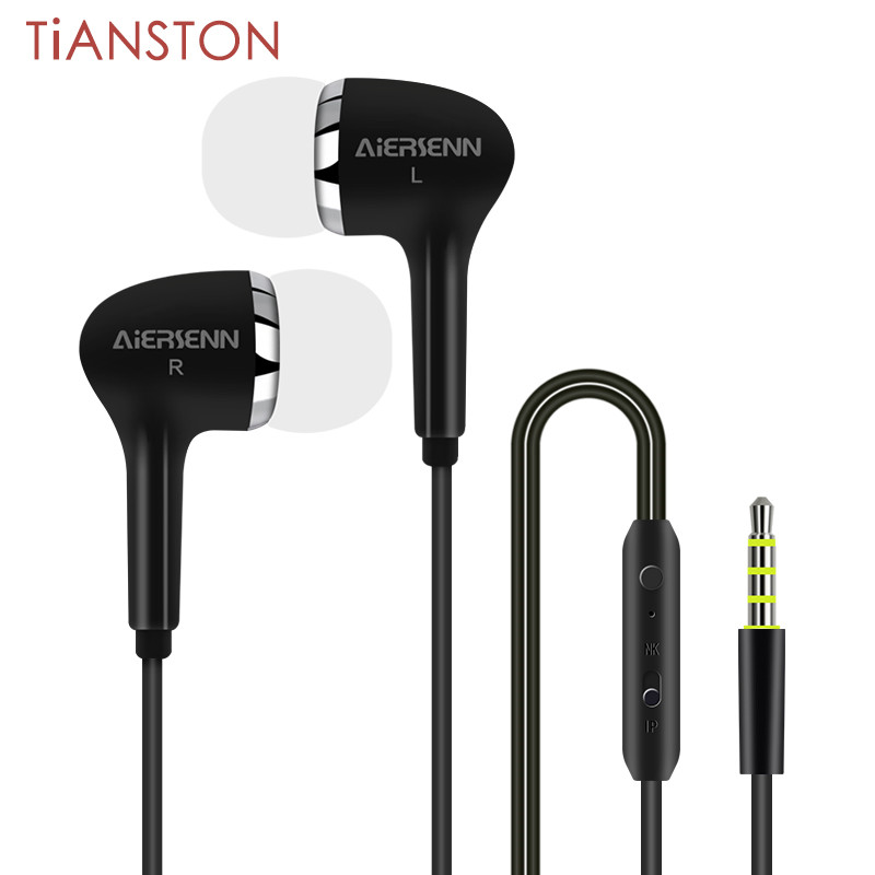 TIANSTON Stereo HIFI In Ear 3.5mm Built-in Microphone MP3 Earbuds Earphone for iPhone Samsung xiaomi huawei oppo etc(China (Mainland))