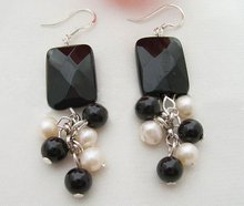 @@~~ Pearl&Onyx Earring-925 Sliver Hook+free shippment(China (Mainland))