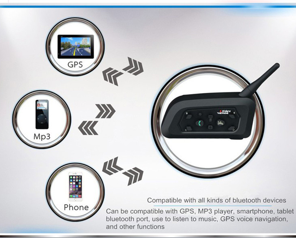 Vnetphone 2pcs V6C Football Referee Headset BT Intercom Full Duplex 2Users 1200M Interphone Max 6Users Bluetooth Earphone