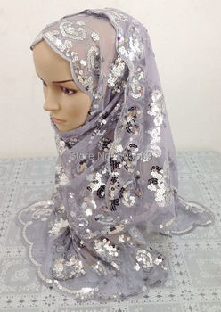 rs145 tulle muslim head scarf with sequin and flower embroidery in assorted colors for free shipping