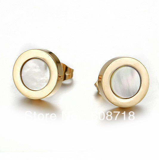 2014 Spring Lead Fashion Design Stud Earring,in 18K Yellow Gold With Mother of Pearl,Finest Charming Earring For Your Christmas(China (Mainland))