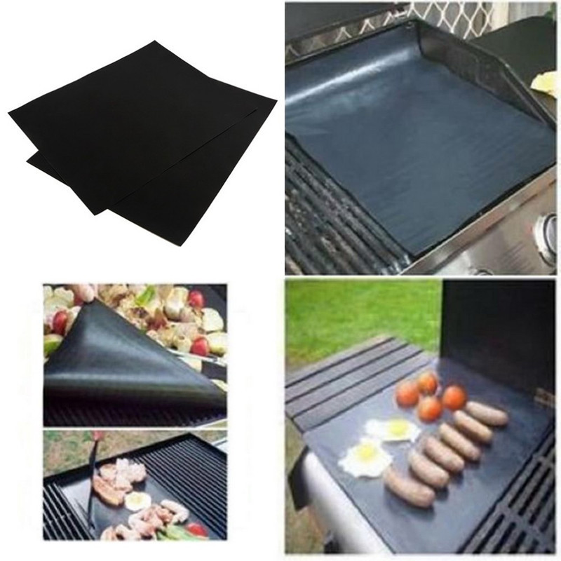 2pcs/set BBQ grill mat for barbecue grill sheet cooking and baking and microwave oven use black promotion(China (Mainland))