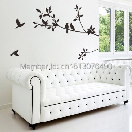 Tree and bird wall stickers vinyl wall decals 8171 family for Decor mural a tapisser