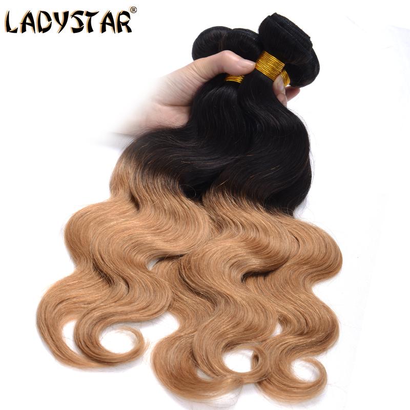 LADY STAR 2 Tones Ombre Color Brazilian Body Wave 3Pcs Lot 6A Brazilian Virgin Hair Extension Noble Natural Black Blonde Color