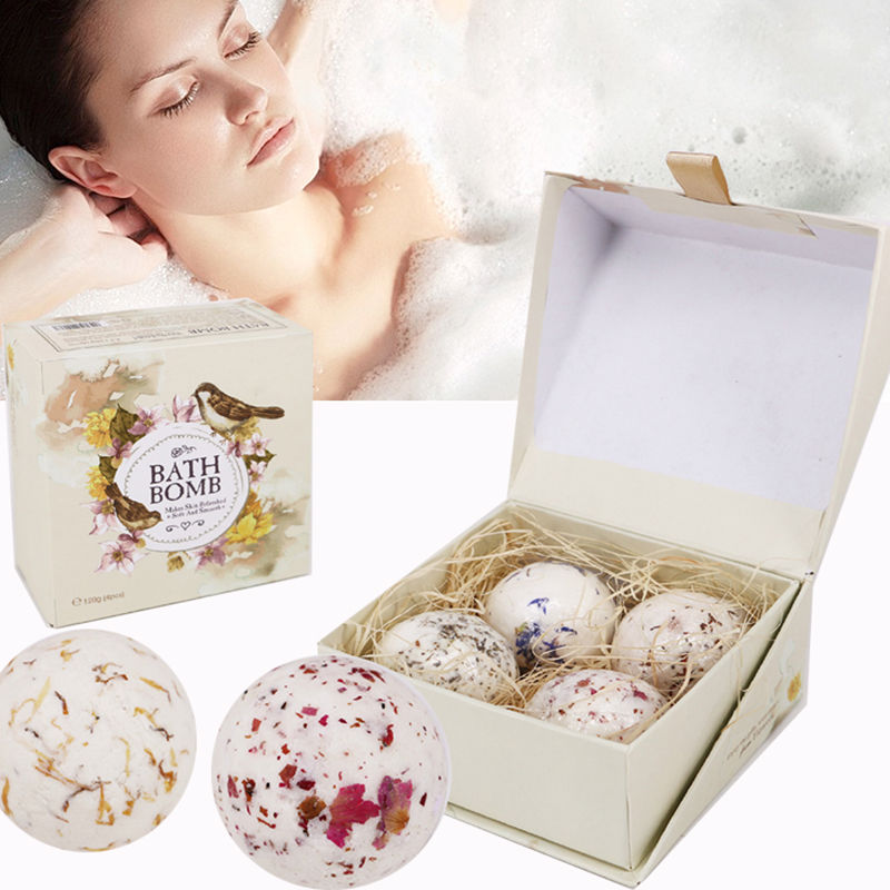 New 4Pcs Natural Sea Salt Bath Ball Set Lavender Rose Flower Bubble Bath Bombs